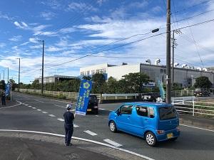 秋の交通安全立哨活動